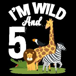 5. Geburtstag Geburtstagsshirt Dschungel Fünf