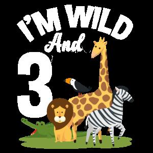 3. Geburtstag Geburtstagsshirt Dschungel Drei