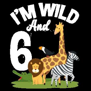 6. Geburtstag Geburtstagsshirt Dschungel Sechs