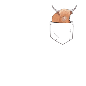 Schottisches Hochlandrind in Brusttasche Rind Land