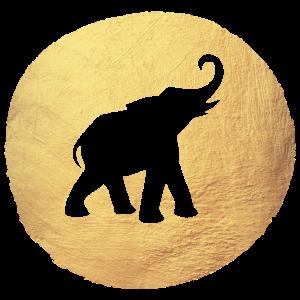 Gold Elefant Schablone Yoga Kreis Indien Luxus