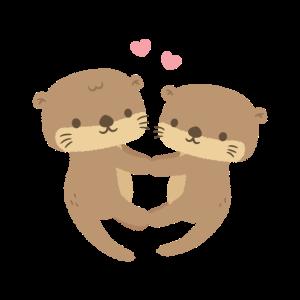 Nettes Otterpaar, das Pfoten hält