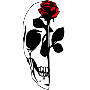 Half Skull With Red Rose