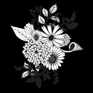 Wunderbare Blumen in schwarz und weiß