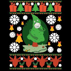 Ugly Christmas Sweater Weihnachtsbaum & Maske Xmas