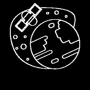 Satellit und Erde Weisse Linien kunst