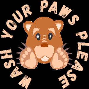 WASH YOUR HANDS PAWS BEAR HYGIENE PANDEMIC VIRUS