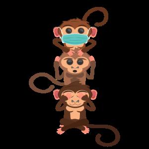 3 Affen nix hören nix sehen - Mundschutz