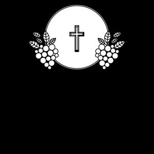 Taufe feiern Symbol Weintrauben Reben Kreuz
