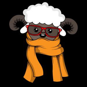 Süße Schaf Lamm Alpacca Mit Brille