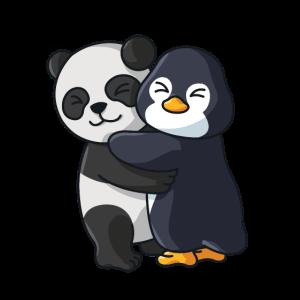 Panda mit Pinguin Liebe süßes niedliche Tiere