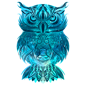Eule in blau Nachteule Uhu Mandala Tattoo Geschenk