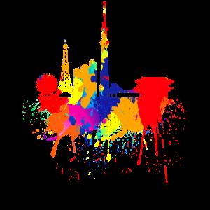 Tokio Skyline Japan Bunte Farben Kunst Asien Tokyo
