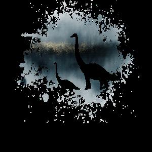 Dinosaurier Brachiosaurus auf Aquarell undGold