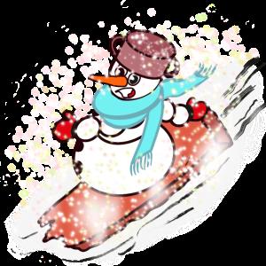 Cooles Comic Schneemann auf Snowboard im Winter