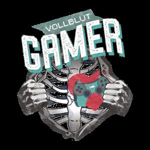 Vollblut Gamer Zocker Computerspiele Skelett Nerd