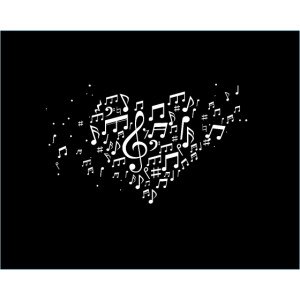 Herz Musiknoten Ich liebe Musik