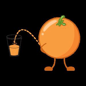 Lustiges Obst Orange Orangensaft witzige Früchte