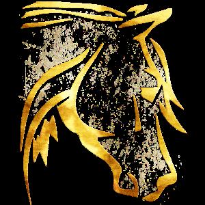 Reiten - Reiter - Pferdekopf - Goldenes Pferd