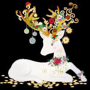 weihnachtlich geschmückter liegender weißer Hirsch