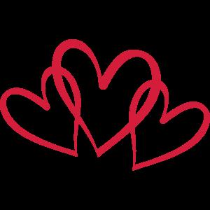 3 verschlungene Herzen
