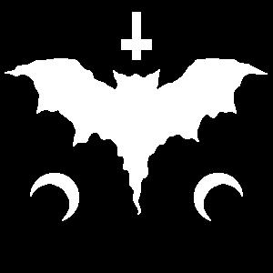 Goth Fledermaus - Petruskreuz - Halbmonde