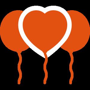 Herzballon. Valentinstag. Luftballons.