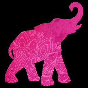Elefant Mandala Indien pink Meditation Yoga Deko