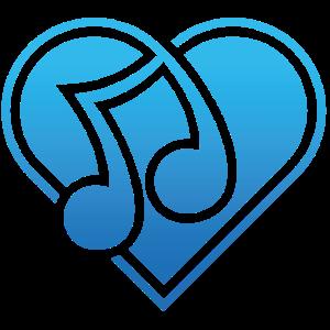 Herz Musiknote Blau Ich liebe Musik