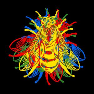 Bunte Insekten im Retro Fliegen Design