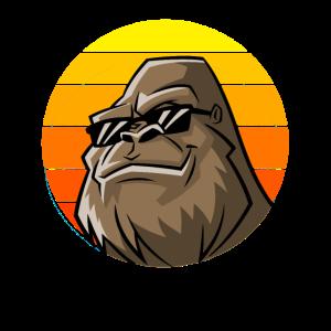 Gorilla Sonnenuntergang mit Sonnenbrille