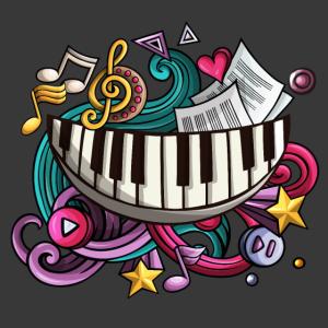 Klavier Lächeln mit musikalischen Symbolen