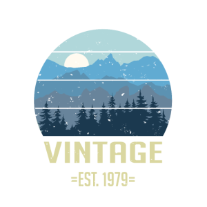 Vintage EST. 1979 - Wald Berge Landschaft