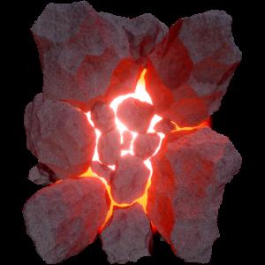 Vulkan 3D Effekt Glühende Lava