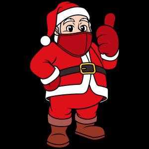Weihnachtsmann mit Gesichtsmaske Santa Nikolaus