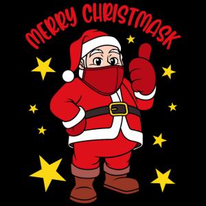 Merry Christmask Weihnachtsmann mit Gesichtsmaske