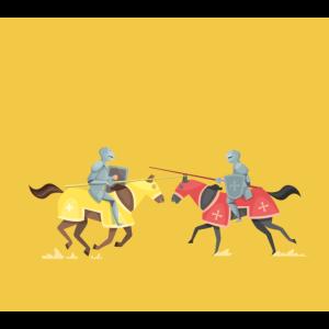 Turnier Mittelalterliche Ritter Wettbewerb Cartoon Pferd