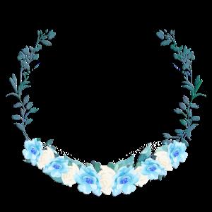 Blauer Kranz-floral-- personalisierbar