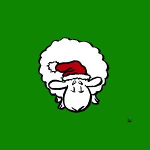 Santa Sheep (auf grün)