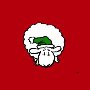 Santa Sheep (på rött)