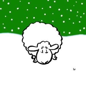 Snöig får (på grön) ansiktsmask