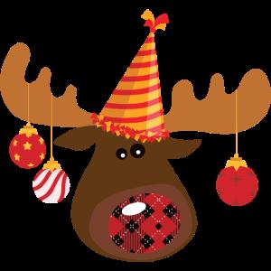 Weihnachtsrentier mit Girlanden auf dem Kopf