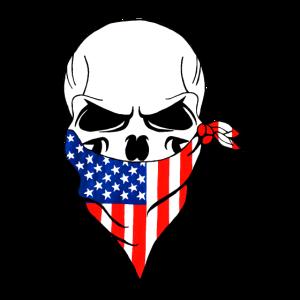 Handgemalt,Totenkopf mit US Flaggen Mundschutz