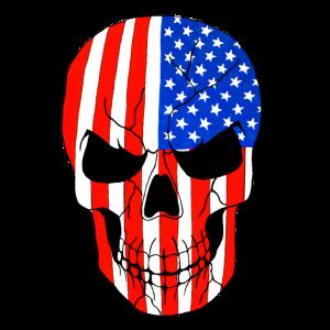 US Flaggen Totenkopf, handgemalt