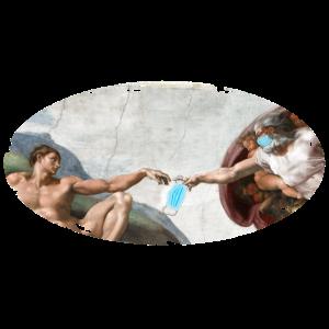 Michelangelo Gott reicht Adam eine Maske