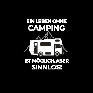 caravan camping und campen im Zelt mit slogan alp