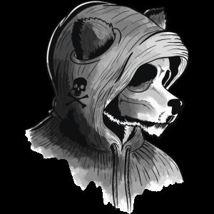 Furry Panda Bär mit Hoodie versteckt sich Artwork