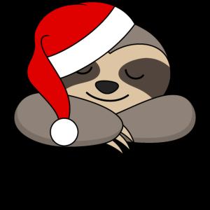 Faultier Santa Weck mich wenn es Geschenke gibt