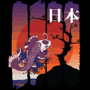 japanische Koi-Kunst und rote Kanji-Sonne