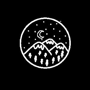Berge mit Sternenhimmel und Mond